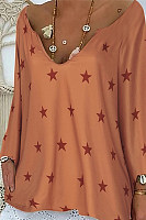 Casual V Neck Star Printed Colour Long Sleeve Loose T-Shirt