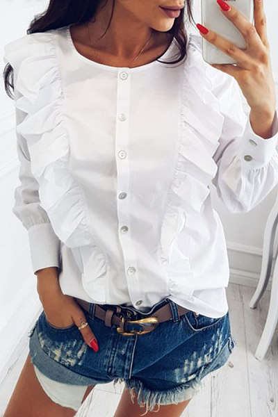 Fashion round collar long sleeved lotus leaf edge shirt