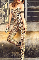 Strapless  Backless  Leopard Printed  Sleeveless Jumpsuits