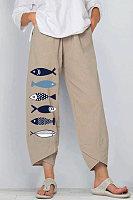 Loose Cotton And Linen Elastic Waist Wide-leg Pants