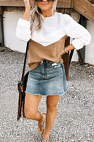 Casual Round Collar Geometric Colorblock Long Sleeve Sweatshirt