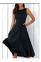 Round Neck  Pleated Bodice Maxi Dress