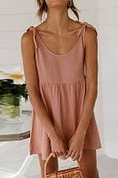 Round Neck Tie Strap Mini Dress