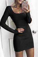 Square Neck  Plain  Long Sleeve Bodycon Dresses