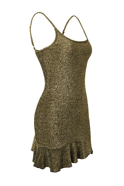 Spaghetti Strap  Backless Flounce  Plain  Sleeveless Bodycon Dresses