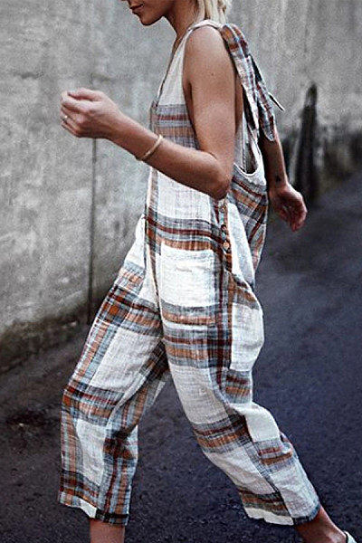 Classy Plaid Bare Back Halter Jumpsuits