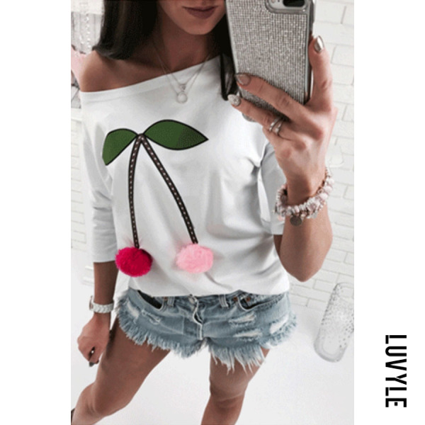 White One Shoulder Cherry Printed T-Shirts White One Shoulder Cherry Printed T-Shirts