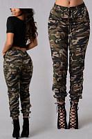 Elastic Waist  Camouflage Pants