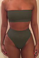 Strapless  Backless  Plain Bikini