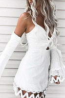 Spaghetti Strap  Backless  Lace Plain  Bell Sleeve Bodycon Dresses