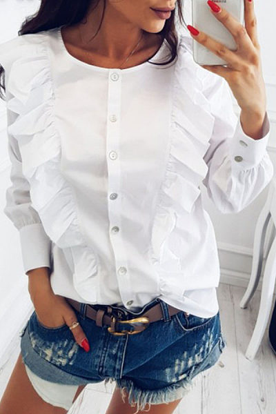 Round Neck  Flounce Single Breasted  Plain  Blouses
