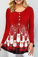 Christmas Printed Round Neck Long Sleeve T-Shirt