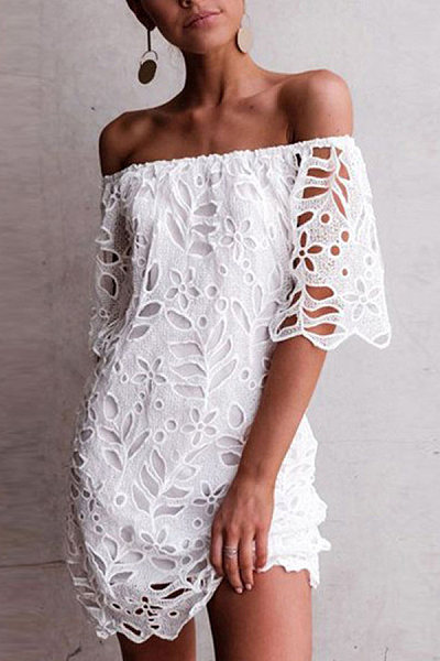 Sexy One-Shoulder Lace Short-Sleeved Dress