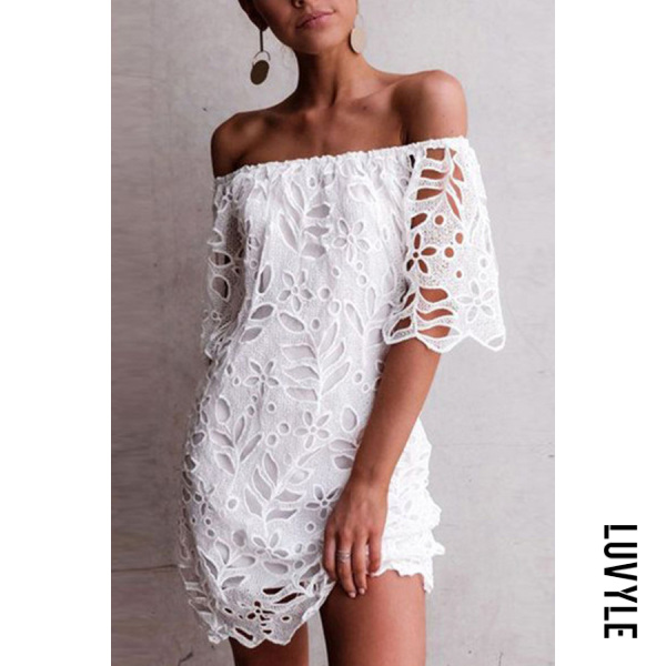White Sexy One-Shoulder Lace Short-Sleeved Dress White Sexy One-Shoulder Lace Short-Sleeved Dress