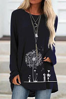 Round Neck Printed Long Sleeve T-shirt