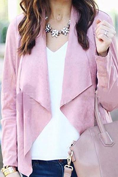 Lapel Solid Color Deerskin Casual Jacket