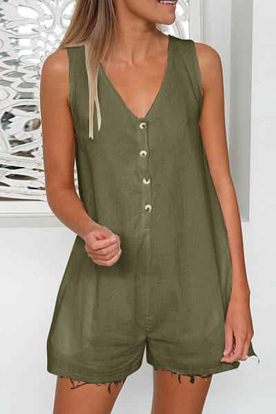 V Neck  Single Breasted  Plain  Short Sleeve  Playsuits