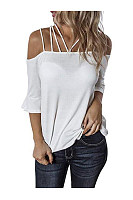 Spaghetti Straps Plain Half Sleeve Sexy T-Shirts