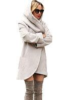 Hooded  Asymmetric Hem  Plain Outerwear