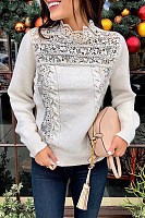 Round Neck Plain Decorative Lace Sweater