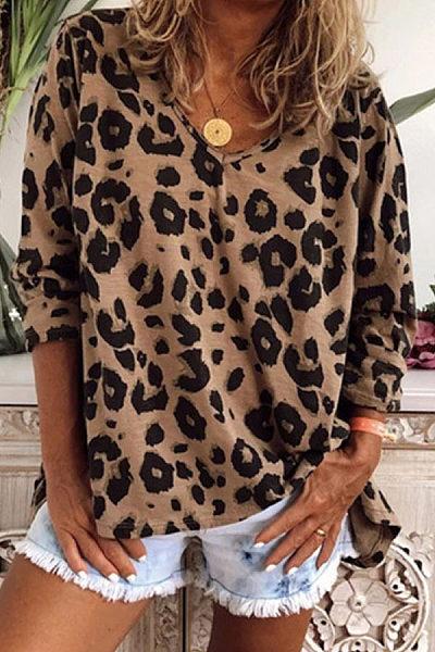 V Neck Long Sleeve Leopard T-shirt