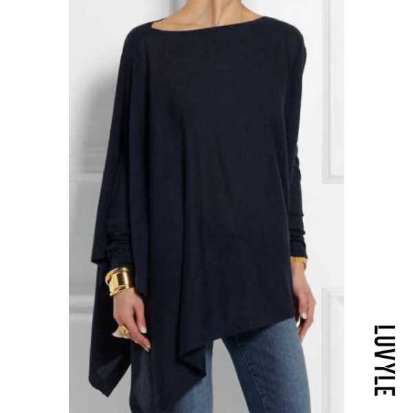 Casual Long Sleeve Loose Irregular Pure Color Pullover T-Shirt Top
