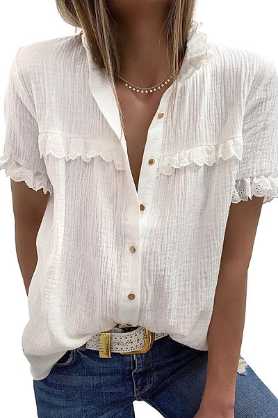 Decorative Lace Solid Loose Blouse