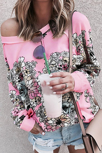 Floral Open Shoulder Collar T-shirt