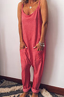 Sling Loose-Fitting Solid Color Jumpsuit