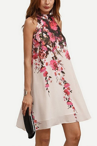 Halter  Floral Printed  Sleeveless Casual Dresses