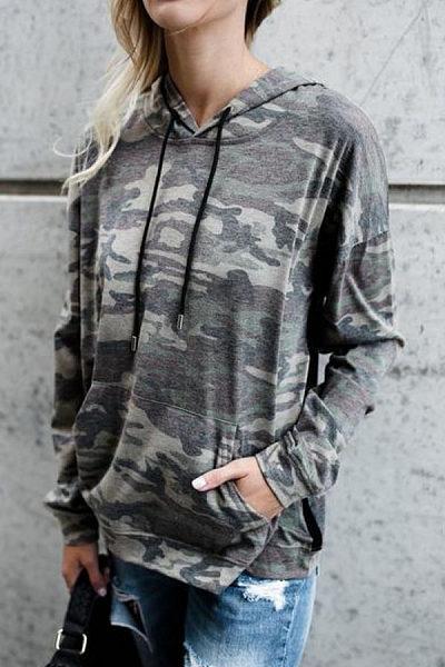 Drawstring Kangaroo Pocket  Camouflage Hoodies