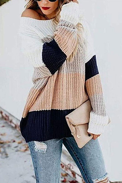 Round Neck Colouring Long Sleeve Sweater