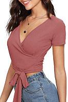 Surplice  Lace Up  Plain T-Shirts