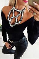 Sexy Beads Halter Off Shoulder Plain T-Shirts