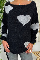 Round Neck Long Sleeve Heart