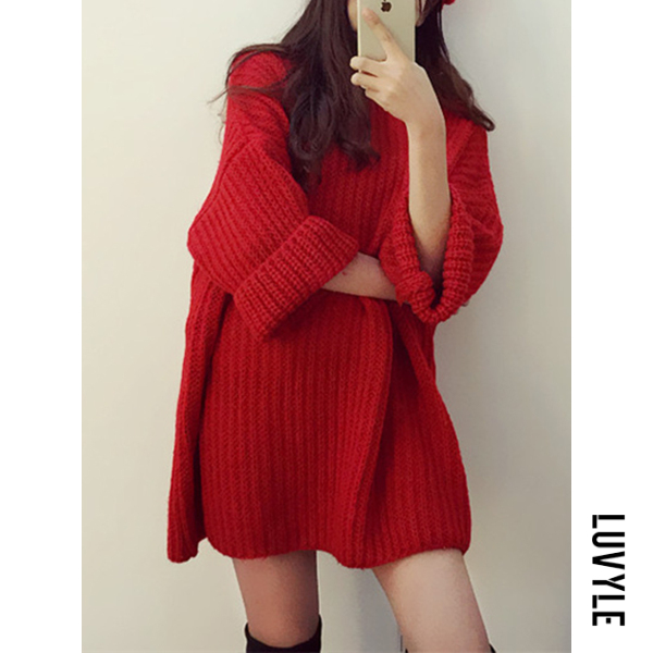 Red Round Neck Plain Roll-Up Sleeve Shift Dresses Red Round Neck Plain Roll-Up Sleeve Shift Dresses