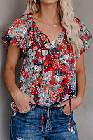 V Neck Short Sleeve Floral Blouse