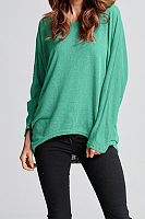 Round Neck Loose Long Batwing Sleeve Plain T-Shirts