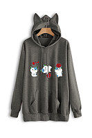 Casual Long Sleeve Cat Hoody