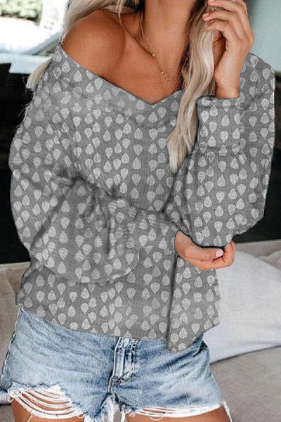 Fashion V Neck Long Sleeve Printed Colour Loose T-Shirt