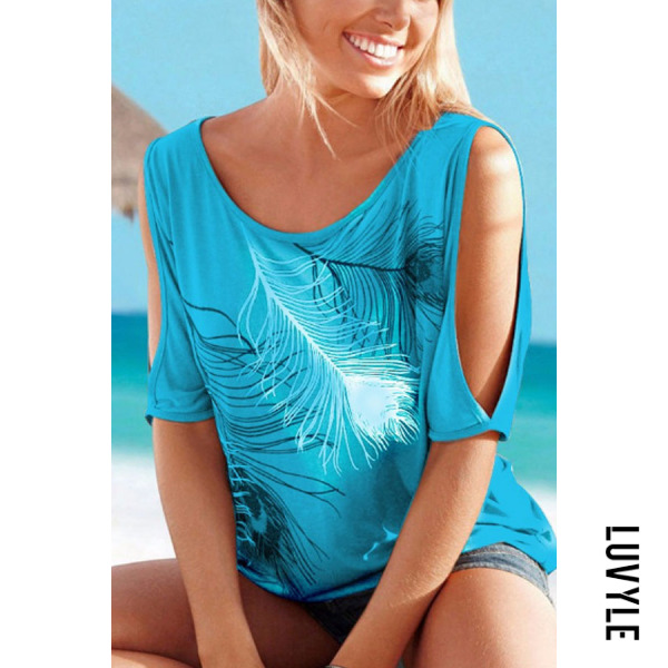 Sky Blue Fashion Round Neck T-Shirt With Contrast Feather Pattern Sky Blue Fashion Round Neck T-Shirt With Contrast Feather Pattern