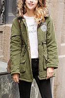 Faux Fur Collar Hooded  Zipper  Belt  Plain Outerwear
