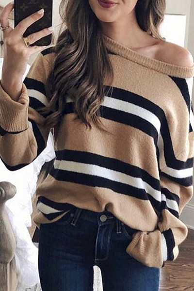 Open Shoulder  Striped Sweaters