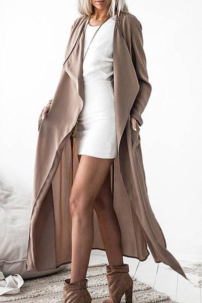 Lapel  Slit  Plain Trench Coat