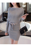 Boat Neck  Bowknot  Plain  Knit Knitted Dress
