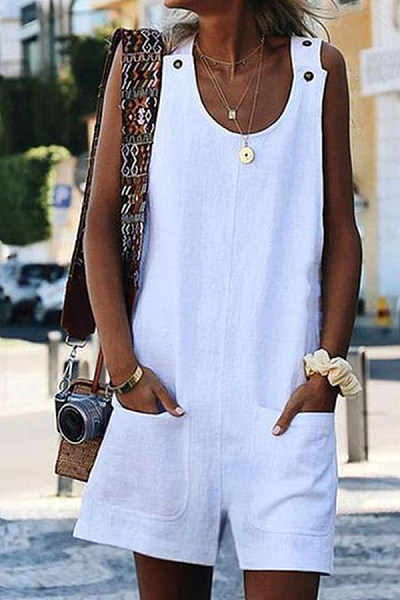 Round Neck  Patch Pocket  Plain  Sleeveless  Playsuits