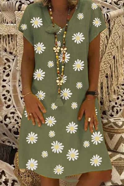Daisy Printed V Neck Casual Dress