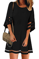 Round Neck  Plain  Three Quarter Sleeve Casual Dresses