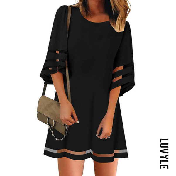 Black Round Neck Plain Three Quarter Sleeve Casual Dresses Black Round Neck Plain Three Quarter Sleeve Casual Dresses