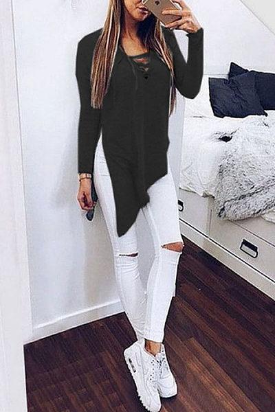 V Neck  Asymmetric Hem Lace Up Slit  Plain T-Shirts